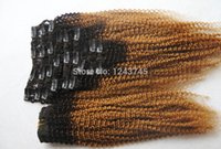 ombre saç uzantıları satışı toptan satış-Toptan Satış - Toptan-Sıcak Satış Brezilyalı Kinky Kıvırcık T1B / 27 Ombre 9 / ps 6A İşlenmemiş Saç Virgin% 100 İnsan Örgü Klip Saç İnsan Uzantıları 100g