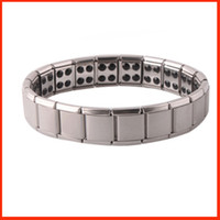 Wholesale balance magnetic bracelet - Health bracelets magnetic GE power titanium steel Magnetic Energy 80 Germanium Power Bracelet energy Balance bangles fashion jewelry 160816