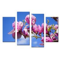 images panel paintings 도매-4 패널 핑크 복숭아 꽃 꽃 벽 장식 예술 이미지 캔버스에 인쇄 현대 홈 장식에 대 한 그림 풍경 Frameless 회화