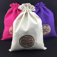 Wholesale Embroidery Sachet - Cotton Linen Cloth Travel Dust Bag for Drawstring Shoes Storage Bags Chinese Embroidery Joyous Protective Cover Fabric Gift Packaging Pouch