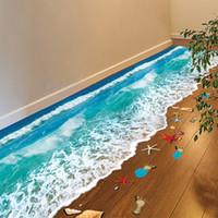 cenário da parede do quarto venda por atacado-Mar Praia romântica Piso Adesivo 3D Simulação Praia Home Decor Decal para Decoração Do Banheiro Quarto Sala de estar Pano de Fundo Adesivo de Parede