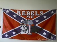 Wholesale Rebel Caps - Rebels Motorcycle Club Flag 90 x 150 cm Polyester MC Biker Confederates Cap Wearing Skull Banner