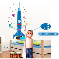 Carta da parati Wall Sticker Cartoon Rocket Exoplanet Stella Robot camera bambini della scuola materna poster Outer Space Dream parete grafica infantile del bambino in camera Wall Art
