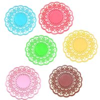 Wholesale Table Deco For Weddings - Wholesale- 6 Pcs Semitransparent Lace Hollow Out Silicone Glass Coaster posavasos Cup Mat Table Placemats for Wedding Party Home Deco