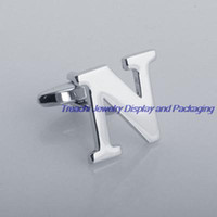 Wholesale A pair Hot sale English Letters Men s Cuff Links Stainless Steel Cufflinks Wedding Novelty Silver Gift Shirt