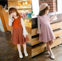 Wholesale Kid Girl Woolen Dresses - Autumn Girls Lace Woolen Dresses Kids girls Princess Ruffles Dress Baby Girls Sleeveless Dress 2017 kids clothing