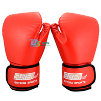 Wholesale grappling gloves - 2016 New MMA Red Sparring Grappling Muay Thai Training Free Combat Mitts Boxing Gloves