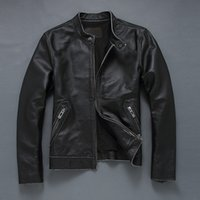 Wholesale Thin Leather Motorcycle Jacket - Fall-2016 New Men's black cowskin thin short motorcycle jacket genuine leather jacket chaqueta cuero hombre XS-5XL