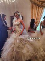 vestido de novia catedral sin espalda al por mayor-2019 nuevo encaje sirena vestidos de novia tren de la catedral vestidos de novia de novia sexy sin respaldo más el tamaño de primavera árabe vestido de novias 388