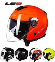 Wholesale Ls2 Helmets Uv - 2016 new LS2 double lenses motorcycle helmet male lady OF521 half face motorbike helmets made of fiberglass UV Four Seasons