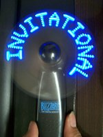 Wholesale Message hotsale gift Handle Flashing Led Mini Fan led light up gift customized LOGO mini fan for wholesales blue