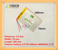Wholesale Polymer Lithium Rechargeable Battery - for Free Shipping 3 wire pc 3570100 3.7V 4000mAH (polymer lithium ion battery) Li-ion battery for tablet pc