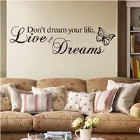 1pc Lettera Wall Sticker Home Decor Non sognare la vita, vivi il tuo sogno wall Quote Decalcomania Vinile Parole Sticker YL838495