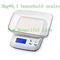Wholesale Unit Kitchen Scale - 3000g 0.1g Electronic Household Kitchen Scales LCD Digital Jewelry Scale Counting Bench Weighing Balance Grams+6 Units
