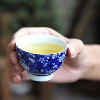 Wholesale Tea Cup Jingdezhen - Jingdezhen antique blue and white tea cup ceramic cups Pu'er Cup Kung Fu tea cups individual cups tea bowl 5 sets