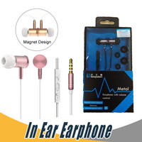 Wholesale Blackberry Magnet - Lansdom I8 Metal Magnet Earphone Bass In-Ear Headset with Mic Volume Control Earphone For iPhone Samsung Mobile Phone