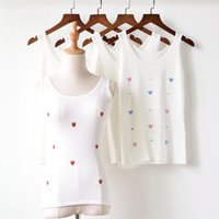 Wholesale Garment Young - Foreign Trade Garment Sleeveless Sweater Vest Summer T-shirt Sleeve Slim young and beautiful Thin White embroidery 1626353316