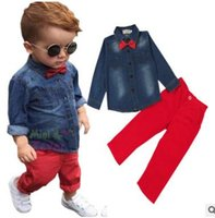 Wholesale Denim Shirts For Girls - Ins Fashion Denim Blouse Shirt Tops Red Pants 2 Piece Outfits Boys Outfits for Baby Boys Clothing Sets Kids Clothing Baby Clothes 3-8Y