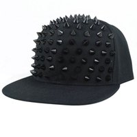 Wholesale Hat Snapback Spike - Hat Snapback Cap Men Women Spike Studs Rivet Cap Hip Hop Baseball Punk C00261 CAD
