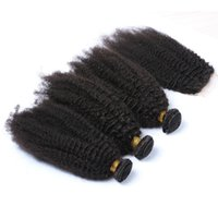 Wholesale Kinky Curl Hair 4pcs - 8A Malaysian Kinky Curl With Closure 4Pcs Lot Afro Kinky Curly Human Hair 3 Bundles With Free Middle 3 Part Lace Closure