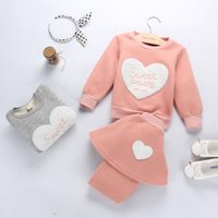 Wholesale Children S Winter Skirts - Girls thickening two sets of 2016 autumn and winter new children 's casual wear + velvet + sweater bottoming dress skirt