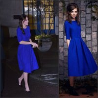 Wholesale Maternity Gowns For Parties - 2016 Catherine Inspired Graduation Dresses with Half Sleeves and Knee Length Draped Royal Blue Homecoming Gowns Good for Lady Party