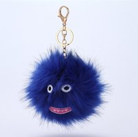 Wholesale Kids Hip Hop Accessories - Hip-hop Style Fluffy Genuine Raccoon Fur Pom Pom Keychain Fur Ball Monster Bag Charm Women Plush Bag Accessories Key Chains Key Ring