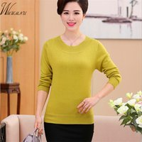 Wholesale green cashmere sweater dresses - Wholesale- 2016 female winter cashmere sweater round neck long sleeved sweater knit sweater Pullover dress color edge ss048-5