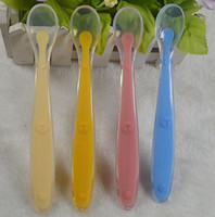Silicone orange utensils - 2015 new arrival infant Baby soft silicone spoon feeding spoon baby Utensils Baby supplies yellow green blue pink orange