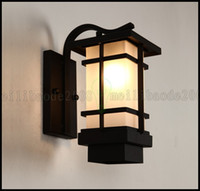 Japan Style outdoor lighting iron - New Chinese Outdoor Wall Lamp Iron Retro Vintage Lighting Waterproof Aisle Japanese style Balcony Lights Lamps