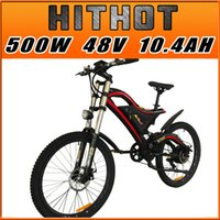 Wholesale Electric Bikes 26 Inch - Addmotor HITHOT Electric Bicycle 500W 48V Double Suspension For Mountain New Design Fashion H5 E-bike High Fork Orange Electric Bike