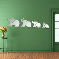 Meilleur Mirror 3D Promotion DIY Four Mignon Elephants Stickers Home Decor Art Decal Acrylique Prix le plus bas