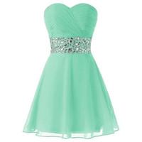 minze grünes schatzkleid großhandel-Classic Mint Green Homecoming Dresses Eine Linie herzförmiger Ausschnitt ärmellos geraffte Top Kristalle kurze Abschlussball-Party-Kleider nach Maß