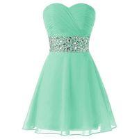 nane yeşil kolsuz kısa elbise toptan satış-Klasik Nane Yeşil Mezuniyet Elbiseleri A Hattı Sevgiliye Boyun Çizgisi Kolsuz Dantelli En Kristaller Kısa Balo Parti Abiye Custom Made