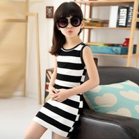 Wholesale Korean Wholesale Childrens Clothing - Girls Black White Stripe Dress Summer Children Sleeveless Vest Dress Childrens Clothes Kids Dress Korean Girl Dress
