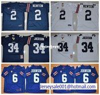 Wholesale Newton White - Hot sale College Auburn Tigers 6 Jeremy Johnson 34 Bo Jackson 2 Cameron Newton Breathable Navy Blue White football