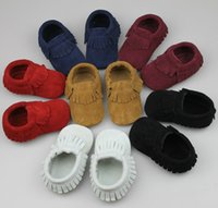 Wholesale Wholesale Western Shoes - Cute Baby Genuine Leather Tassel First Walker Shoes Multi Color Western Fashion Baby Shoes