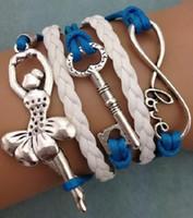 Wholesale leather bracelets online - Leather Bracelet Women Vintage Love Infinity Synthetic Braided Friendship Multilayer Bracelets Bangles for Women Infinity Bracelet