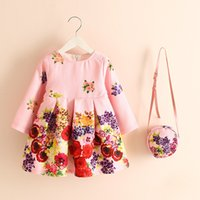 Wholesale Natural Purse - New Arrival Kids Girls Floral Print Party Dress with Mini Purse Ruffles Fall Winter Casual Party Dress