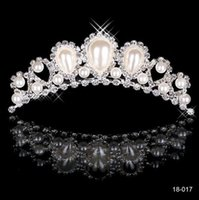 Wholesale Cheap Plastic Crowns - Rhinestone Pearls Crowns Jewelries Cheap Bridal Tiaras Wedding Party Bridesmaid Hair Accessories Headpieces Hair Band For Brides HT144