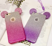 Wholesale Diamond Case For Blackberry - Luxury Dazzling Diamond 3D Mickey Mouse Ears Glitter phone case soft TPU Gradient Color for iphone7 7plus 6 6S plus iphone5S SE