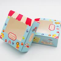 caja de embalaje de galletas al por mayor-Venta al por mayor 30 unids Vintage Cookie Boxes embalaje de cartón para el regalo Candy Biscuit Packing pvc transparente caja de embalaje de regalo envío gratis