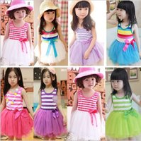Wholesale Striped Infant Tutu - New Coming Girl Dresses Hot Pink Striped Infant Princess Party Clothes 6 Layer Chiffon And 1 Cotton Lining Children Tutu Ball Gown Wear