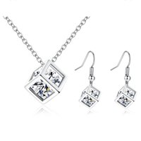 Wholesale Simple Wedding Necklace Earrings - Simple Fashion Charming Women Jewelry Set White Gold Plated AAA Sparky CZ Square Earrings Necklace Set for Girls Women