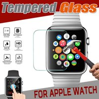 Wholesale Wholesale Iwatch - Tempered Glass 9H Proof Premium Explosion Real Guard Protective Screen Protector for Apple Watch iWatch Series 1 2 3 38mm 42mm Smart Sport
