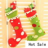 Wholesale Christmas Decorations For Windows - Creative furnishing articles to hang Christmas window Christmas stockings on Christmas decoration gifts for Christmas candy bag B0755