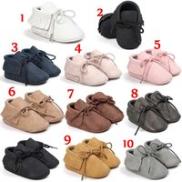 10colours PU Suede Leather Baby Mocassins garota Soft Soled Non-slip Calçado Crib baby Shoes Lace-up