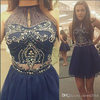 Wholesale Turquoise Short Dress Piece - Sparkly 2017 Two Pieces Homecoming Dress Turquoise Tulle Short School Formal Dress A-line Halter Crystal Sheer Navy Blue Short Prom Dress