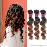 Wholesale Goddess Remy Hair - 2015 Fashion Brazilian Loose Wave Ombre Hair Colored Two Tone Hair Weave 1B 30 100g 3Pcs Goddess Remy Human Hair Red Brown Ombre