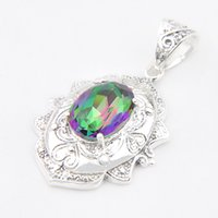 Wholesale borders australia - Luckyshine Vintage decorative border Mystic Topaz Gems Sterling Silver Plated Pendants Russia Australia USA Pendants Jewelry